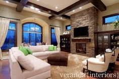design homes, living rooms, exposed beams, famili, dream, ceiling beams, family rooms, live room, stone fireplaces