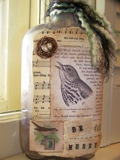 BIRD Altered Collage Vintage Apothecary Bottle