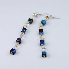 Love these long blue crystal earrings from StudioJewel!