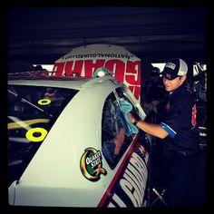 "Photo by @teamhendrick on Instagram: ""#88 interior mechanic Adam Jordan making sure #DaleJr's ride is nice & shiny."""