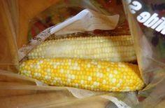 Freezing corn on the cob.