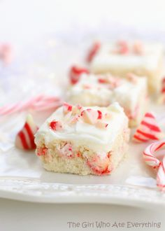 Candy Cane Kisses Sugar Cookie Bars