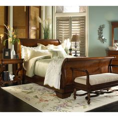 Fine Furniture Design Louis Philippe Classics California King Sleigh Bed with Platform Footboard FF-850-361-262-263