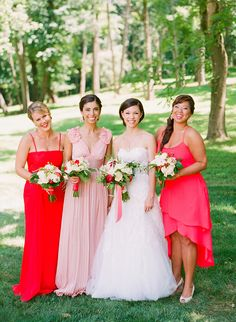 Swoon! Gorgeous red and pink palette- bridesmaid dresses from BCBG.