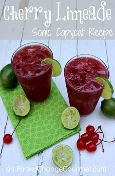 Cherry Limeade :: Sonic Copycat Recipe :: on PocketChangeGourm...