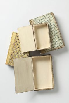 Old book boxes. Love these!