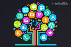 Social Media Tree Icon - psd - free