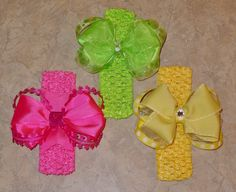 Custom Pink, Green and Yellow headbands and bows!