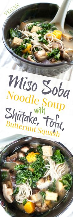 Miso Soba Noodle Soup with Shiitake, Tofu, & Butternut Squash - Miso ...