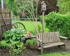wagon wheels, bench, yard, funky junk, garden stuff