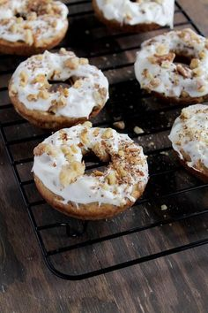 Baked Carrot Cake Doughnuts with Pineapple Cream Cheese Frosting | www.diethood.com