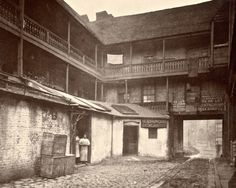 At White Hart Inn yard, photo taken in 1870s, but would have remained relatively unchanged since the 18thC