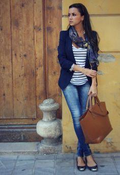 stripes, navy blazer, ballet flats, leather bag, scarf. Very nice