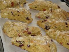 SKINNY Cranberry Peach Scones w/ White Chocolate Chips