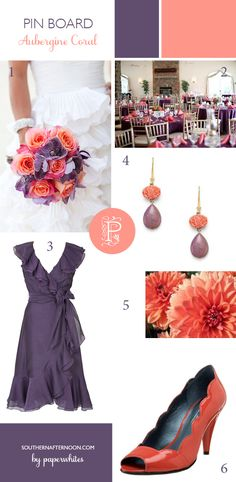 Love this color palate and LOVE the dress!!  Aubergine purple and coral together at last! Great drop earrings, dahlias, bridesmaid dress,bridal bouquet...all bright and cheerful