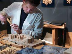 ORNAMENTAL WOODCARVER Patrick Damiaens, a woodcarving demonstration