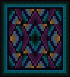 "From JinnyBeyer.com: ""Navajo Sunrise is a bargello-style quilt reminiscent of the rug patterns woven by native Americans. The design is created by arranging a repeat of mirrored and non-mirrored versions of a single block. Rotary cutting and strip piecing make the construction of the blocks both quick and easy.""  Get the free pattern: www.freequiltpatterns.info/free-pattern---navajo-sunrise-by-jinny-beyer.htm"