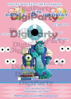 MONSTERS UNIVERSITY Invitation Birthday Party by DigiParty on Etsy, $9.99