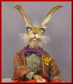 Handmade OOAK Folk Art Old Man Easter Bunnie Doll