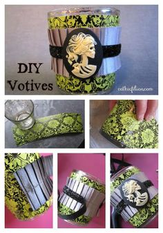 Easy DIY Craft: Gothic-Chic Halloween Candle Holder.  Made with Mod Podge, Ribbons and Skull Cabochons