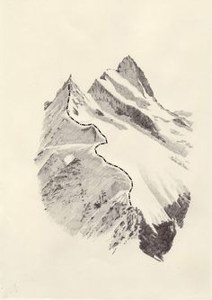 mountain drawing, drawing mountains, art, path, journey, mountain sketch, kasper pinci, print, illustr