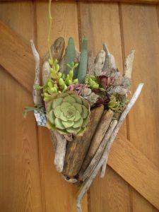 sculptures, craft, driftwood sculptur, driftwood piec, garden idea, succul, driftwood planter, funnel shape, wall gardens