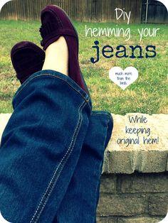 Hemming your jeans while keeping original hem! #tutorial #diy #easy