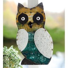 Shabby chic owl for the garden. Owl Reclaimed Metal Wall Plaque.