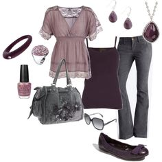 """""""smokey plum"""" by cami-woods-aley on Polyvore fashion, style, color, plums, smokey plum, purple nails, jean outfits, polyvore, spring outfits"""