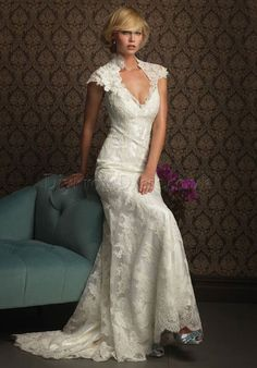 lace a-line high neck cap sleeves floor-length sweep train wedding dress - diypromdress.co.uk