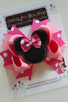 Make your own hair bows. Cut out little Minnie Mouse shapes out of felt.