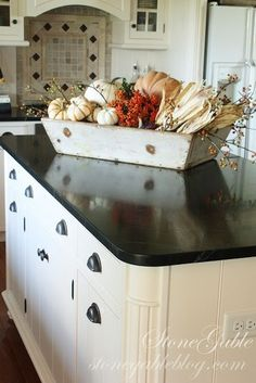 37 Awesome Fall Kitchen Décor Ideas : 37 Awesome Fall Kitchen Décor Ideas With White Kitchen Island Sink Oven Stove Cabinet Walls Wooden Door And Pumpkin Ornament