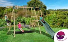 Plum® Giant Baboon® Wooden Garden Swing Set and Climbing Frame - Multi features means endless hours of outdoor play with this Giant Baboon® wooden swing set from Plum®! This amazing swing set features a soft feel climbing rope, 2 swings, 4ft high play deck and 8ft wave slide; providing plenty of space for active and agile play.