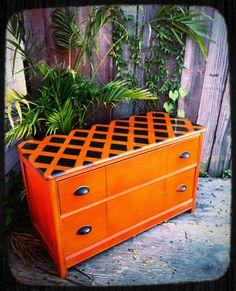 Refinished Funky Orange Dresser