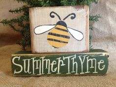 Primitive Country Bumble Bee Summer Thyme Home Decor Shelf Sitter Block Set #BumbleBee