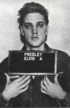 Elvis Presley mugshot after he was arrested for assault in 1956.