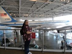 Twitter fan @Onefiestygal4u's sister Rebecca is in front of Air Force One telling everyone that it's Sharks territory. Great photo opp! #IsItOctoberYet