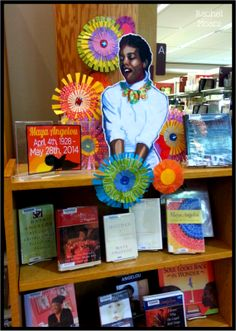 """Maya Angelou, 1928-2014. Amazing writer, beautiful woman, you'll be missed.  Memorial Book Display at the Lacey Timberland Library.  """"I've learned that people will forget what you said, people will forget what you did, but people will never forget how you made them feel."""""""