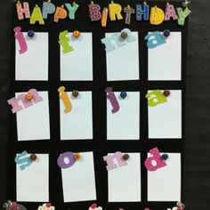 Happy Birthday chart for my classroom - love how the letters are on white for word wall, too!