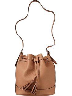 Old Navy Womens Faux Leather Tasseled Bucket Bags - Mocha brown