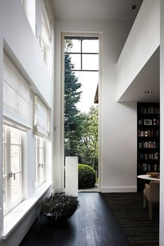 floor, window, white walls, architecture interiors, door, high ceilings, hallway, homes, light