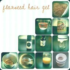 Homemade flaxseed gel w/ coconut oil & tea tree oil. Pictures above, instructions at the link.