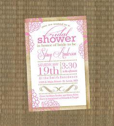 Printable Bridal Shower Invitation - Shabby Chic Pink Wedding Shower Invitation. $15.00, via Etsy.