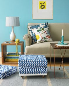 wall colors, turquoise blue, side tables, living rooms, blue walls, seat, floor pillows, accent walls, floor cushions