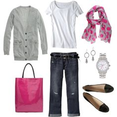 Boyfriend cardi & jeans with feminine touches of pink & gold