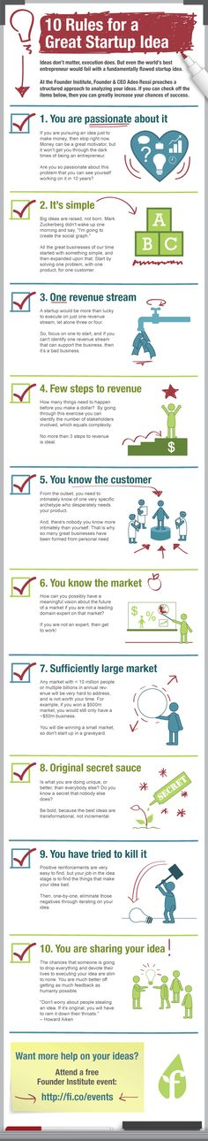 10 Rules That Nourish A Great Startup Idea #infographic #startup #money #idea