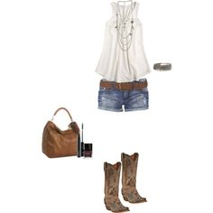 fashion life, boot, countri outfit, summer outfits, polyvore