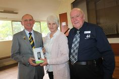 Beaudesert Meals on Wheels president John Bartlett is recognised for 30 years in the role by secretary Shirley Baldwin and Queensland Meals on Wheels board member Jack Pool.