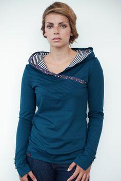 Kinda cute!  http://www.etsy.com/listing/106923370/turquoise-hoodie-shirt-flowers-tucks