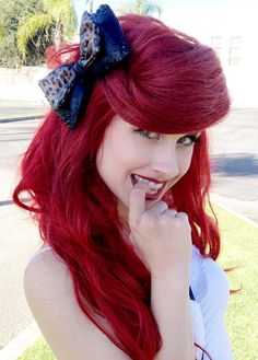 leopard hair, hair color red and black, red hair, the little mermaid